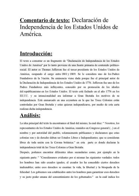 Calaméo   Comentario De Texto Declaración de Independencia ...
