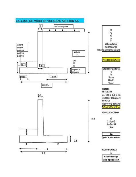 Cálculo de Muro de Contención en Voladizo EXCEL | uDocz