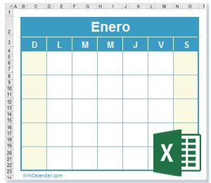 Caledario Excel 2019 Gratis   Calendario XLS En Blanco ...
