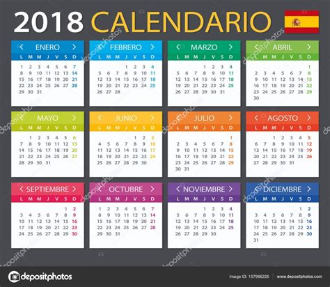 Calendar 2018   Spanish version — Stock Vector ...
