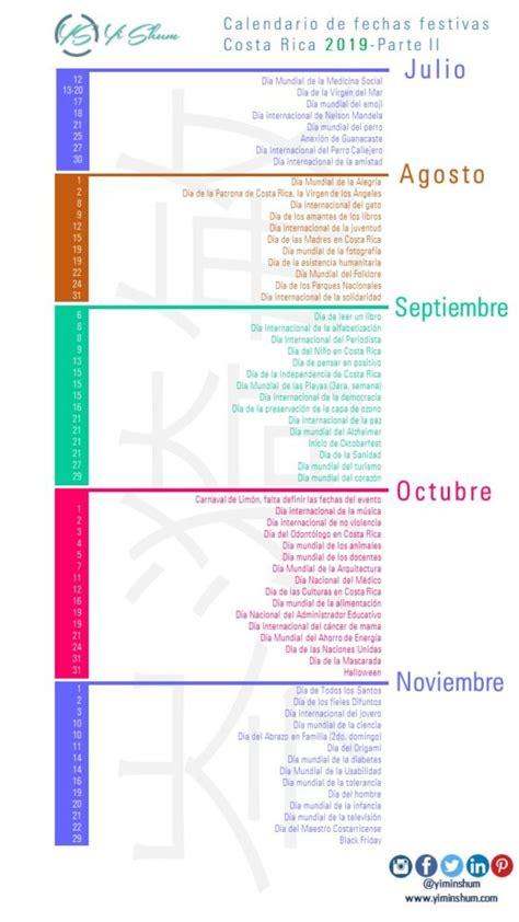 Calendario de fechas festivas de Costa Rica 2019   Yi Min ...