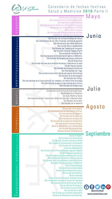 Calendario de fechas festivas Salud y Medicina 2019   Yi ...