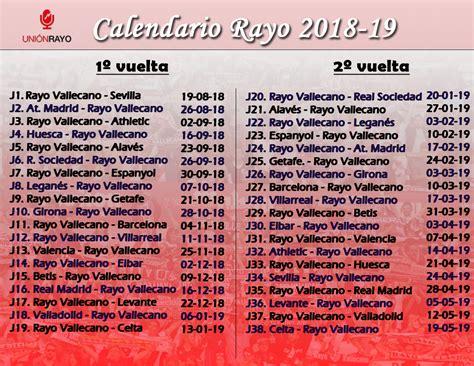Calendario del Rayo Vallecano en LaLiga Santander 2018 2019