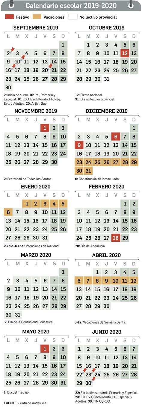 Calendario escolar en Sevilla para el curso 2019   2020 ...