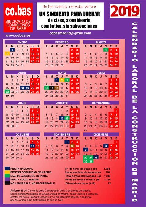 Calendario Laboral 2019 de la Construcción de Madrid | co ...