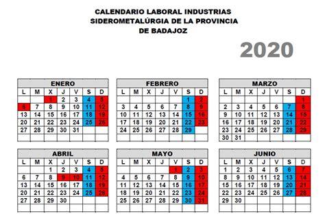CALENDARIO LABORAL INDUSTRIA SIDEROMETALÚRGICA PARA 2020 ...