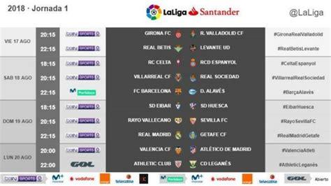 Calendario Liga 2018/2019: Real Madrid y Barcelona debutan ...