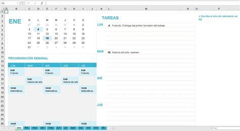 Calendario Semanal 2020 Excel