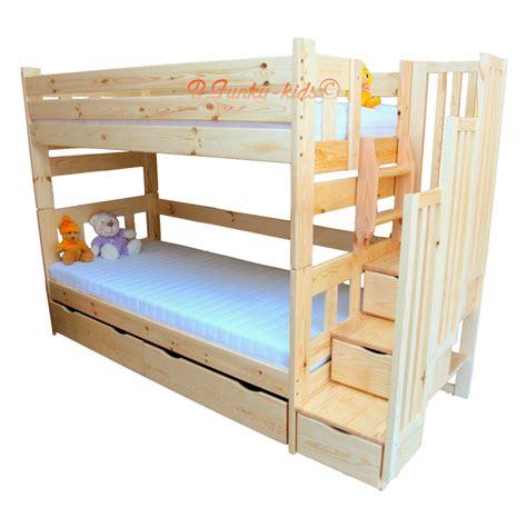 Cama litera con escalera con cajones y cama nido Enrique ...
