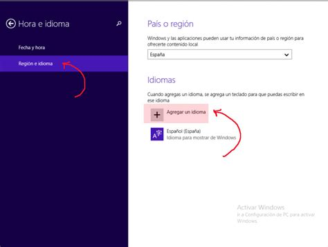 Cambiar el idioma y la hora con Windows 8