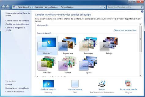 Cambiar o personalizar los temas de Windows 7