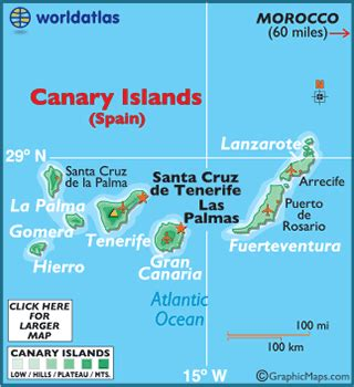 Canary Islands Map / Geography of Canary Islands / Map of ...