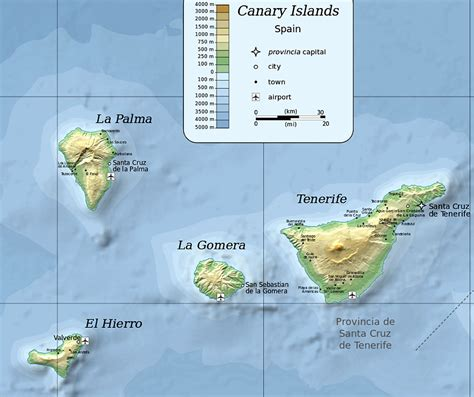Canary Islands Maps   east and west side islands, with ...