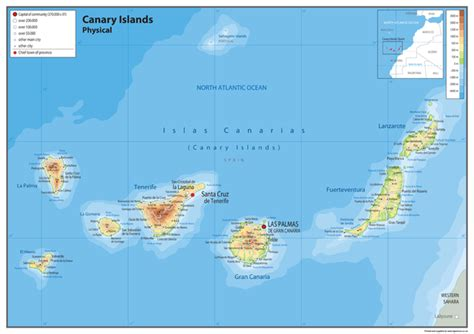 Canary Islands Physical Map – Tiger Moon