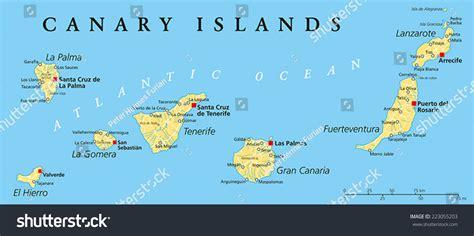 Canary Islands Political Map Lanzarote Fuerteventura Stock ...