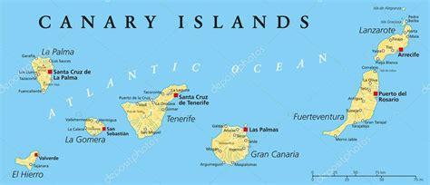 Canary Islands Political Map — Stock Vector  Furian #55322101