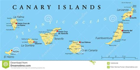 Canary Islands Political Map Stock Vector   Illustration ...