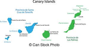 Canary islands political map with lanzarote, fuerteventura ...
