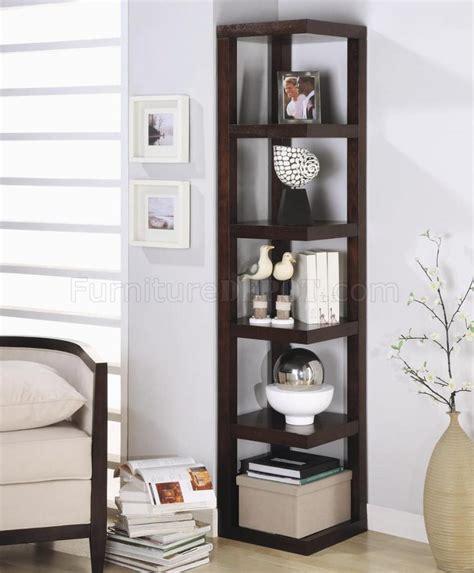 Cappuccino Finish Elegant Contemporary Corner Bookcase