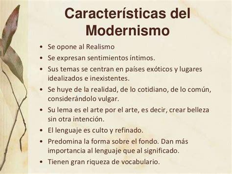 CARACTERÍSTICAS 2 | Modernismo literatura, Modernismo y ...