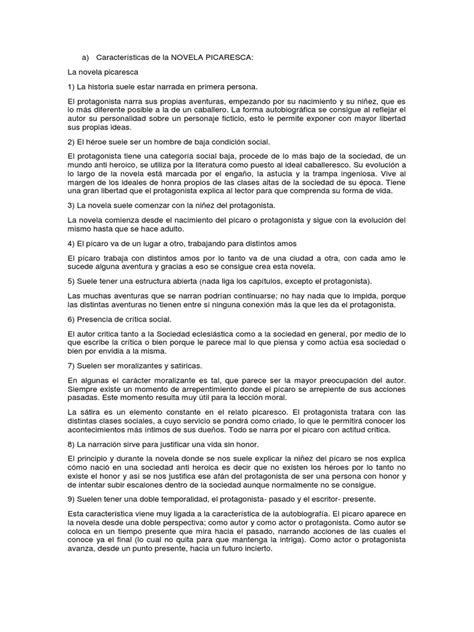 Características de La NOVELA PICARESCA | Rama | Novelas