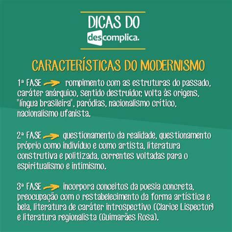 Características do Modernismo. Clique na imagem para ...