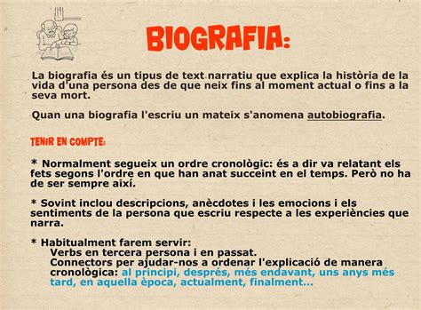 Característiques biografia | AVALUACIÓ | Tipologias ...