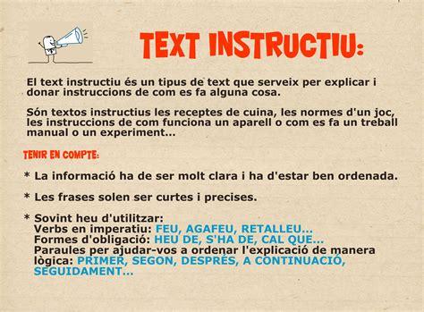 Característiques text instructiu | Llengua   Cat i Cast ...