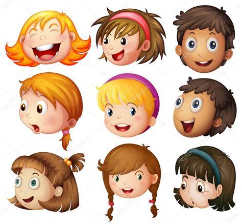 Caras de niños y niñas sobre fondo blanco — Vector de ...