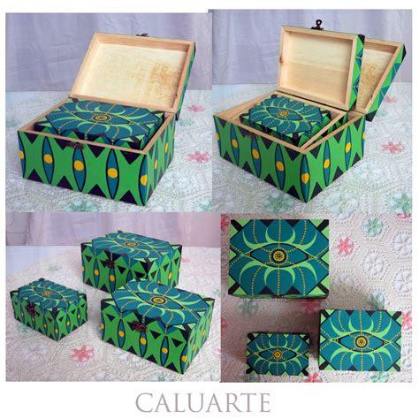 Carlos Rubio : Conjunto de cajas de madera pintadas a mano.