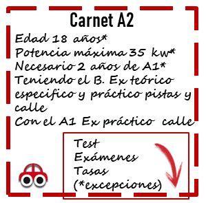 Carnet A2, + fácil y rápido, requisitos, precio, exámenes ...