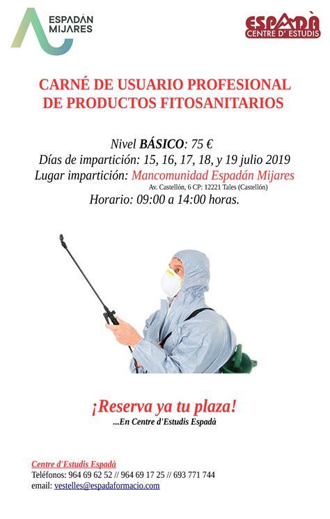 CARNET USUARIO PROFESIONAL DE PRODUCTOS FITOSANITARIOS ...