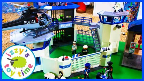 Cars ! Playmobil Police Headquarters! Fun Toys   YouTube