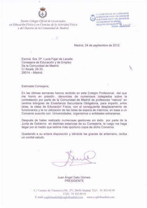 Carta a la consejera de educación. Solicitud