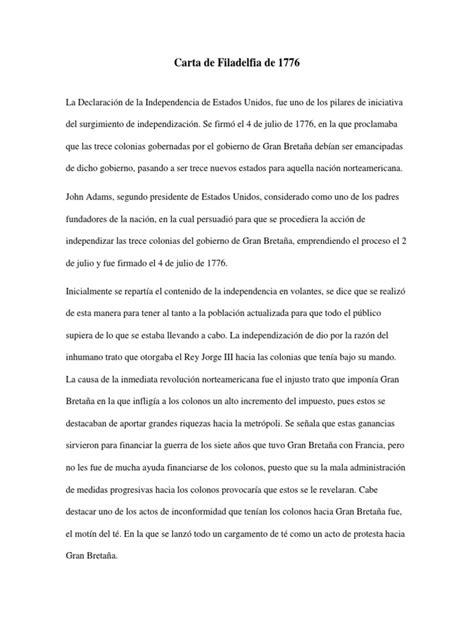 Carta de Filadelfia de 1776 | Declaración de independencia ...