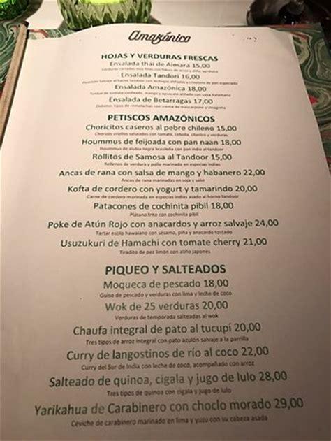 CARTA   Picture of Restaurante Amazonico, Madrid   TripAdvisor