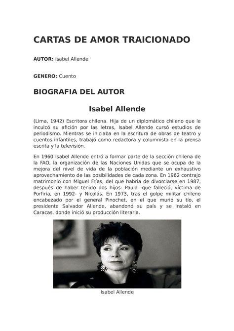CARTAS DE AMOR TRAICIONADO ISABEL ALLENDE PDF