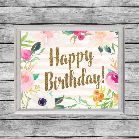 Cartel de feliz cumpleaños para imprimir. 8 x 10. 16 x 20.