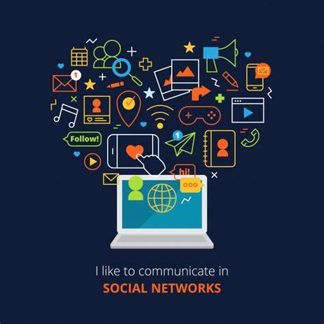 Cartel de las redes sociales con iconos abstractos de ...