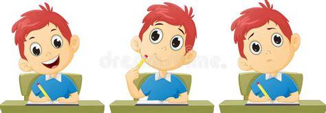Cartoon boy studying stock vector. Illustration of ...