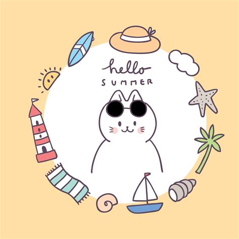 Cartoon cute summer frame cat vector.   Download Free ...
