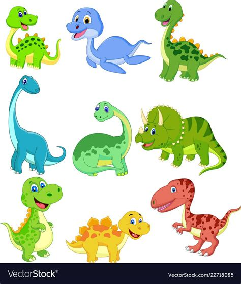 Cartoon dinosaurs collection set vector image on ...