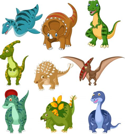 Cartoon dinosaurs collection set Vector | Premium Download
