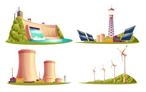 Cartoon energy stations   alternative, renewable ...