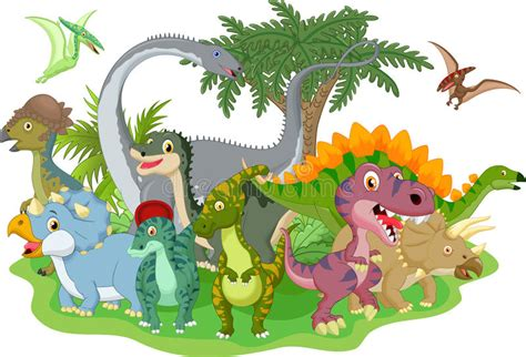 Cartoon group dinosaur stock vector. Illustration of ...