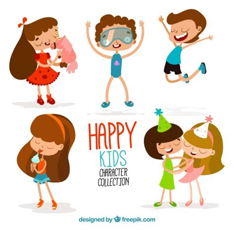 Cartoon happy kids funny collection Vector | Free Download