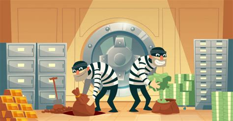 Cartoon illustration of bank robbery in safety vault. Two ...