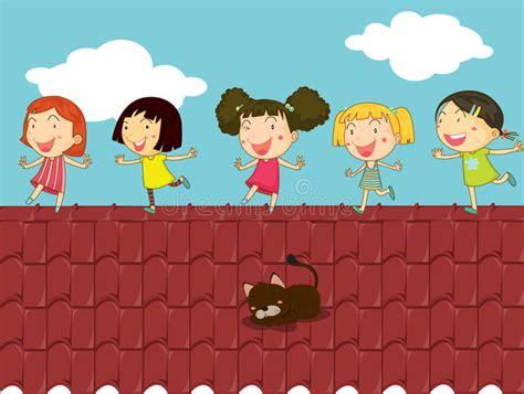 Cartoon Illustration Of Kids On The Roof Stock Vector ...