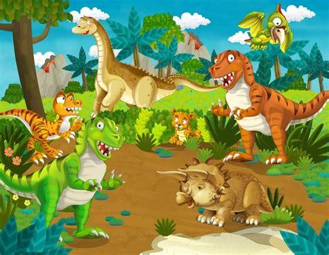 Cartoon Jurassic Park Dinosaur Land Forest Animals Photo ...