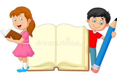 Cartoon Kids With Book And Pencil Stock Vector ...